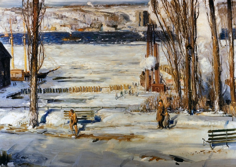 A Morning Snow - Hudson River, 1910 (oil on canvas)
