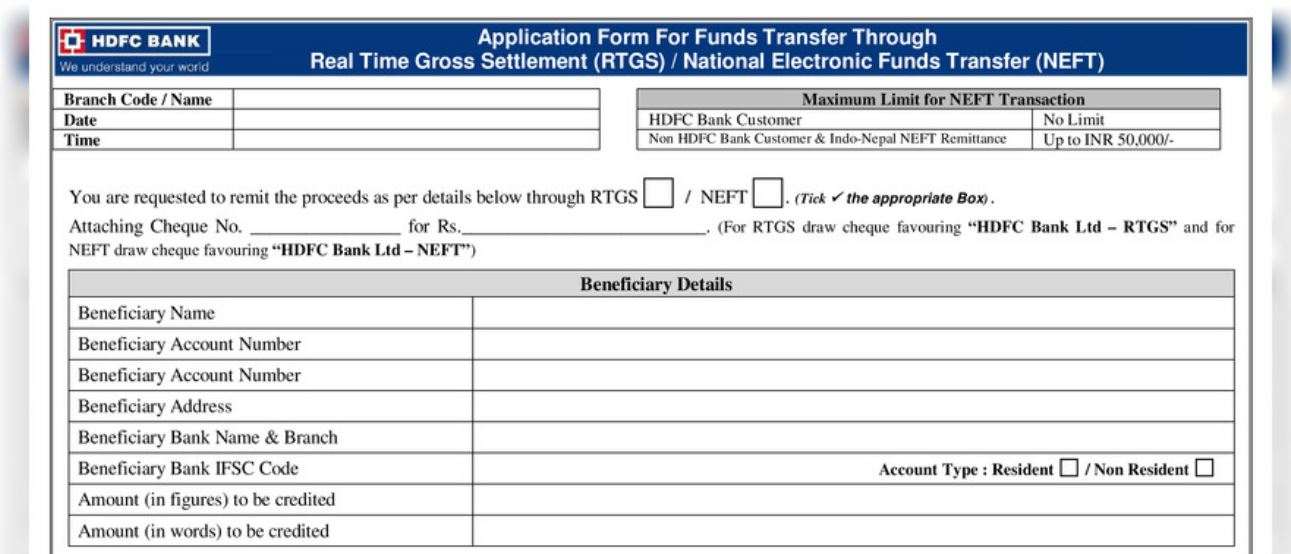 Download Now HDFC RTGS Form
